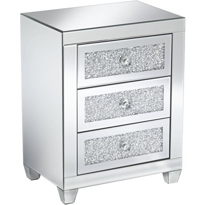 "Studio 55D Gia 20"" Wide Mirrored Silver 3-Drawer Side Table"