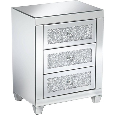 """Studio 55D Gia 20"""" Wide Mirrored Silver 3-Drawer Side Table - image 1 of 4"""