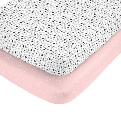 Carter's 100% Cotton Sateen Fitted Crib Sheets - Black/Pink 2pk
