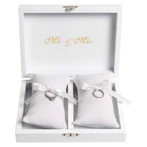 White Wedding Ring Bearer Pillow Box Target