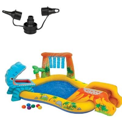 Intex 120V Electric Air Pump & Intex Inflatable Dinosaur Play Center Kids Pool