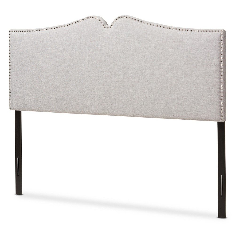 Gracie Modern and Contemporary Fabric Upholstered Headboard with Nail Heads Trim - King - Greyish Beige - Baxton Studio, Buff Beige