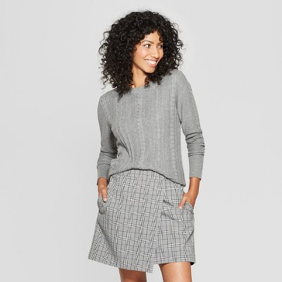 Women's Cable Crewneck Pullover Sweater - A New DayÂ? Gray XS