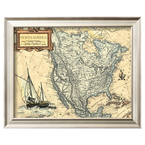 Art.com - North America Map - Framed Print - image 1 of 2