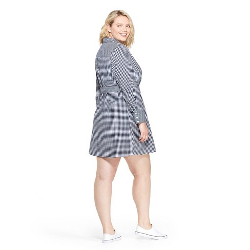 23350557dabfc4 Women s Plus Size Gingham Long Sleeve Shirtdress - Navy White - Vineyard  Vines® For Target   Target