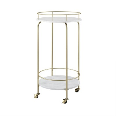 Faux Marble Modern Bar Cart White Marble - Saracina Home
