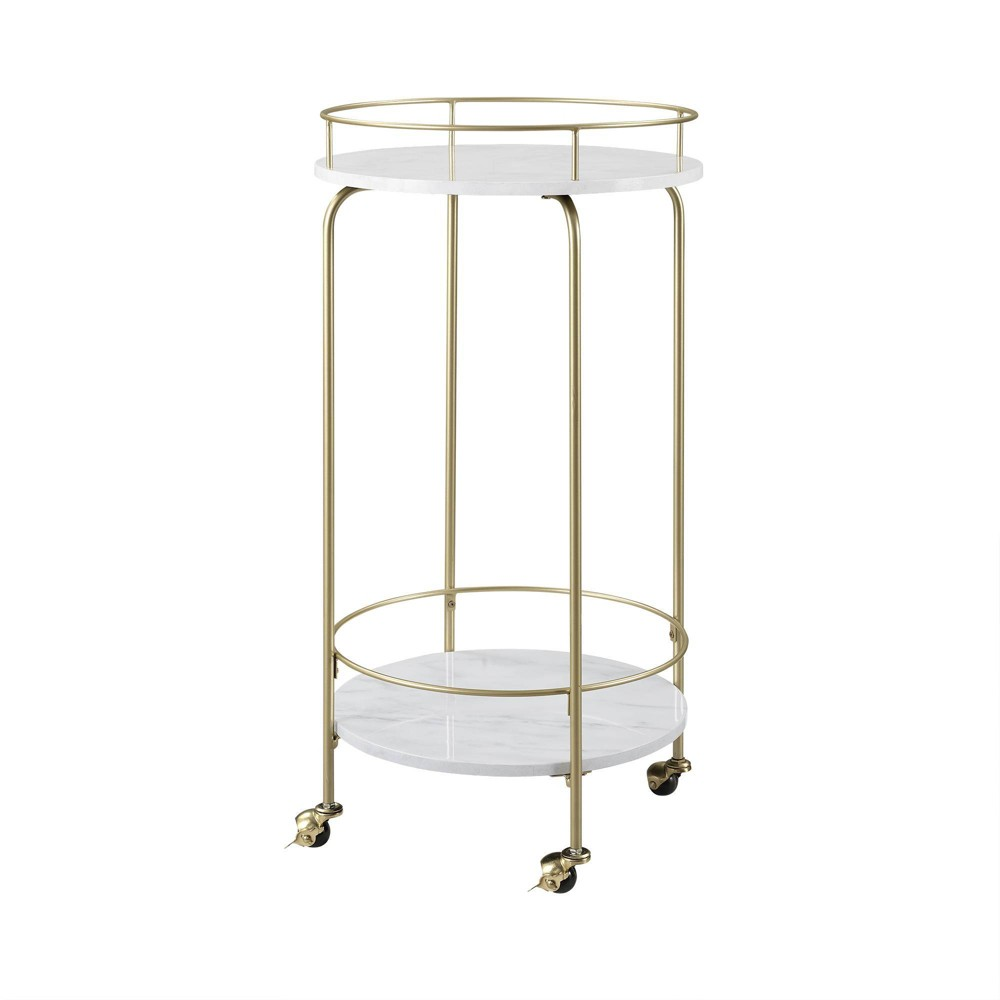 Image of Faux Marble Modern Bar Cart White Marble - Saracina Home