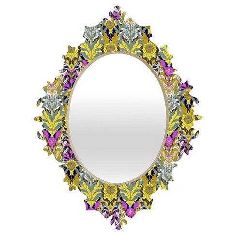 Oval Mary Yellow Baroque Decorative Wall Mirror - Deny Designs® - image 1 of 2