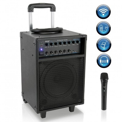 Pyle PWMA230BT 700 Watt Wireless Portable Bluetooth PA Speaker System with Handle, Wheels, MP3/USB/Micro SD, FM Radio and Party Lights
