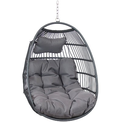 Sunnydaze Outdoor Resin Wicker Julia Hanging Basket Egg Chair Swing with Cushions and Headrest - Gray - 2pc