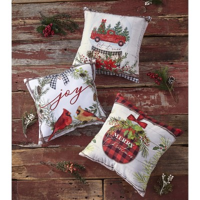 Lakeside Christmas Accent Pillows with Rustic Decorative Prints - Set of 3