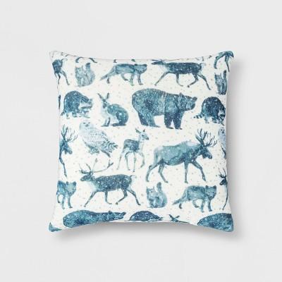 Woodland Animals Square Throw Pillow Blue - Threshold™