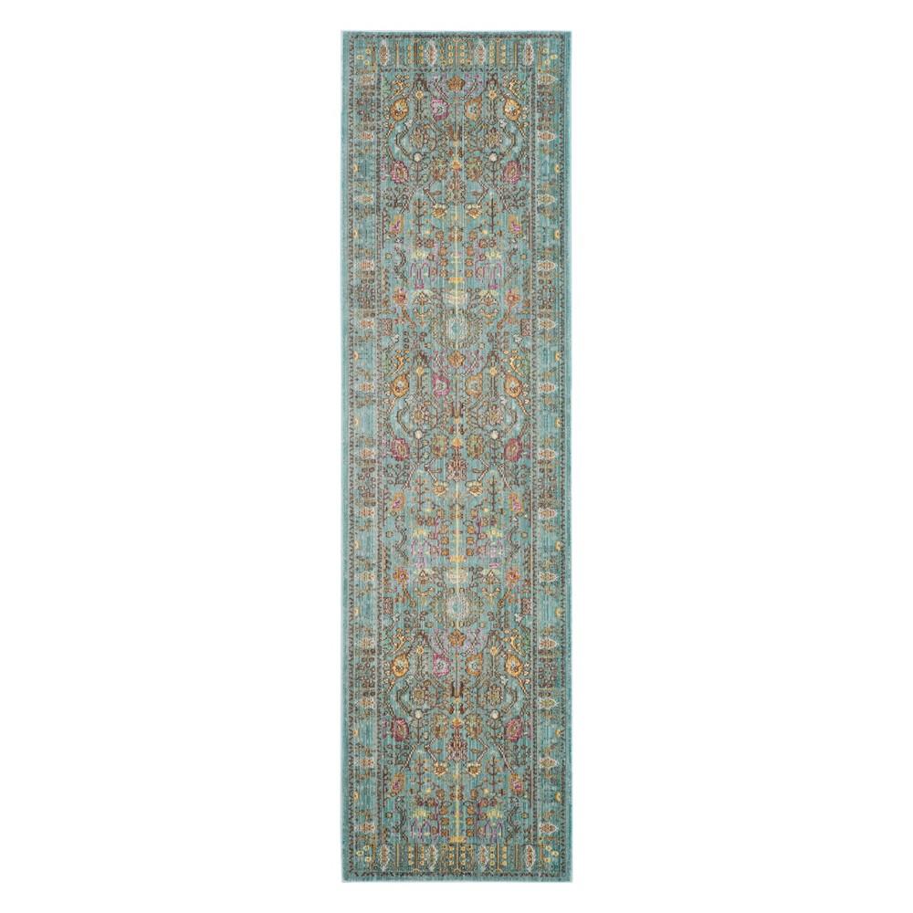 2'3X10' Floral Loomed Runner Steel Blue - Safavieh