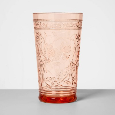 22oz Plastic Floral Embossed Tall Tumbler Pink - Opalhouse™