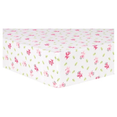 Trend Lab Deluxe Flannel Fitted Crib Sheet - Pink Reindeer