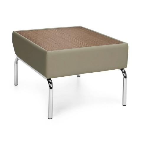 Laminate Top Table with Faux Leather Border and Chrome Frame Taupe - OFM - image 1 of 4