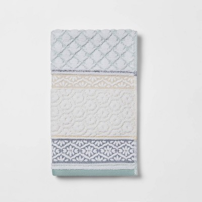 Pattern Filled Striped Hand Towel Blue - Threshold™