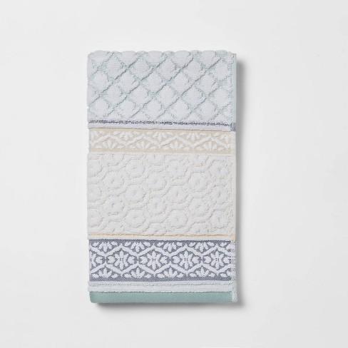 Pattern Filled Stripe Towel Blue - Threshold™ - image 1 of 4