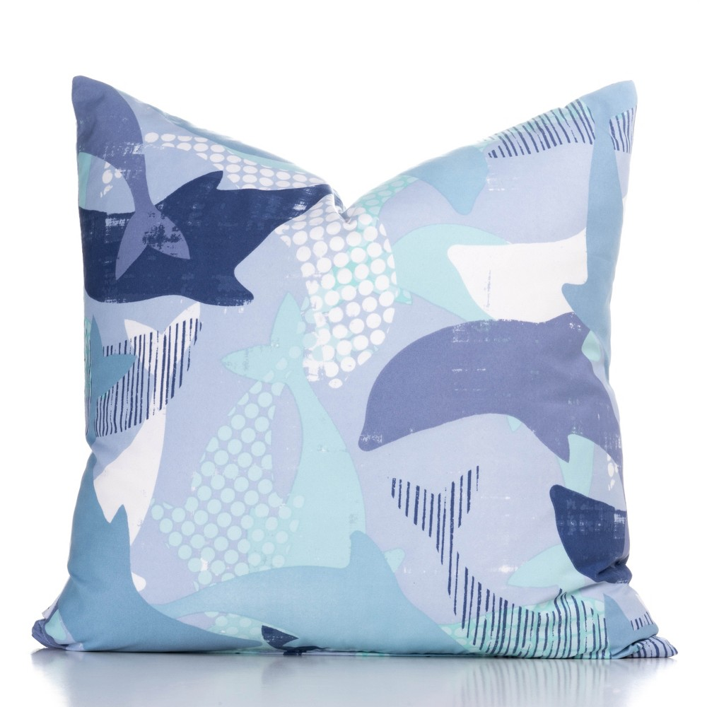 "Image of ""16""""x16"""" Lifes Porpoise Accent Throw Pillow With Sham Light Blue - Crayola"""