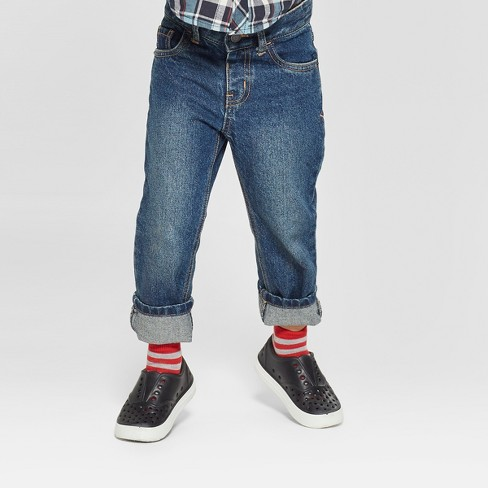 Toddler Boys' Relaxed Straight Jeans - Cat & Jack™ Medium Blue - image 1 of 3