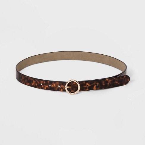 Women's Tortoise Print Round Buckle Belt - A New Day™ Tortoise - image 1 of 2