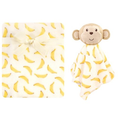 Luvable Friends Baby Boy Plush Blanket and Security Blanket, Banana Monkey, One Size