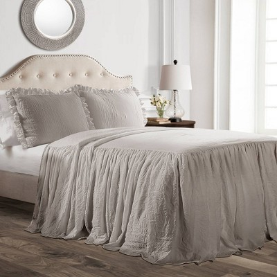 Queen 3pc Ruffle Skirt Bedspread Gray - Lush Décor