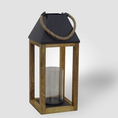 22  Outdoor Lantern Wood and Rope - Threshold™