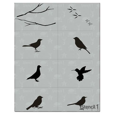 "Stencil1 Bird Multipack 8ct - Stencil 8.5"" x 11"" - image 1 of 2"