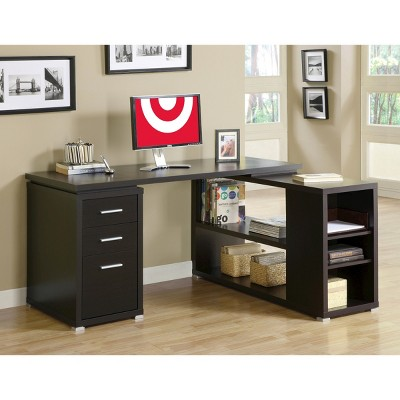 Hollow Core Left Or Right Facing Corner Desk - Cappuccino - EveryRoom