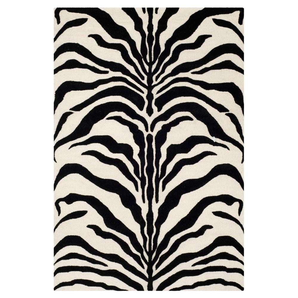 6'X9' Zebra stripe Area Rug Ivory/Black - Safavieh