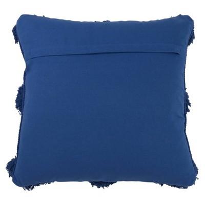 "18""x18"" Pom-Pom Poly Filled Throw Pillow Cobalt Blue - Saro Lifestyle : Target"