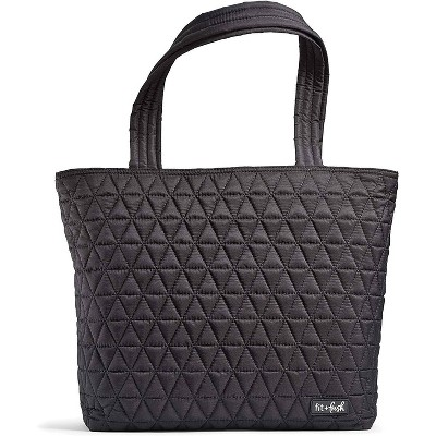 Fit & Fresh Metro Quilted Tote with Lunch Compartment - Black