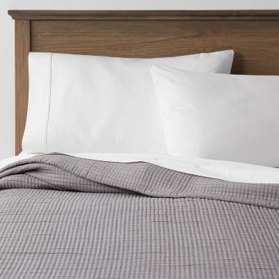 King Plus Double Cloth Quilt Dark Gray - Threshold™