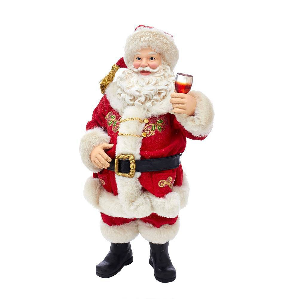 "Image of ""10.5"""" Kurt Adler Fabriché Wine Tasting Santa Decorative Sculpture"""