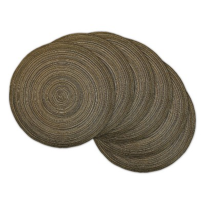 Set of 6 Variegated Lurex Round Woven Placemat Brown - Design Imports