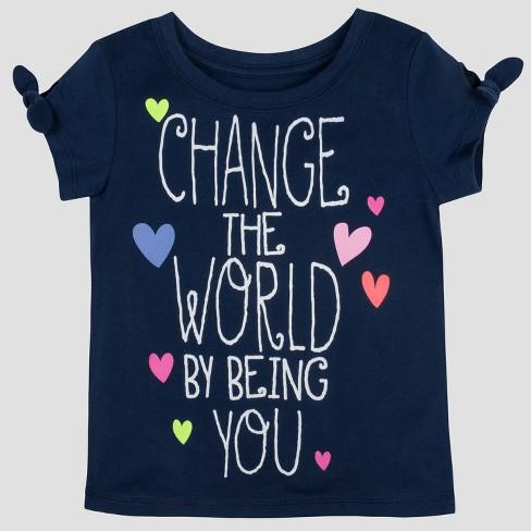 Gerber Graduates Baby Girls' Short Sleeve Change the World Top - Navy 24M - image 1 of 4