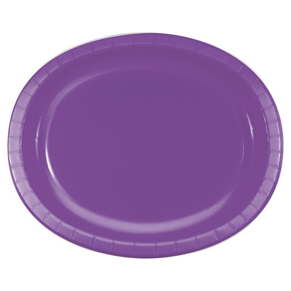 "Image of ""Amethyst Purple 10"""" x 12"""" Oval Platters - 8ct"""
