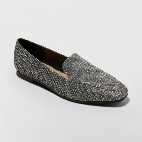 Women's Belle Pointed Toe Loafers - A New Day™ Silver - image 1 of 3