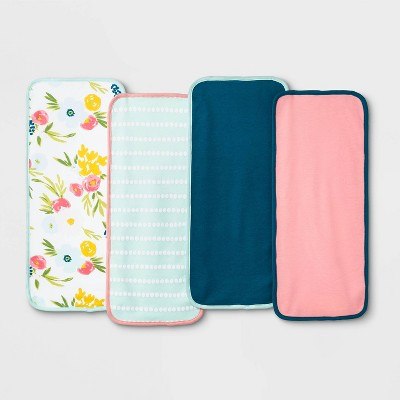 Baby Girls' 4pk Floral Fields Burp Cloth Set - Cloud Island™ White