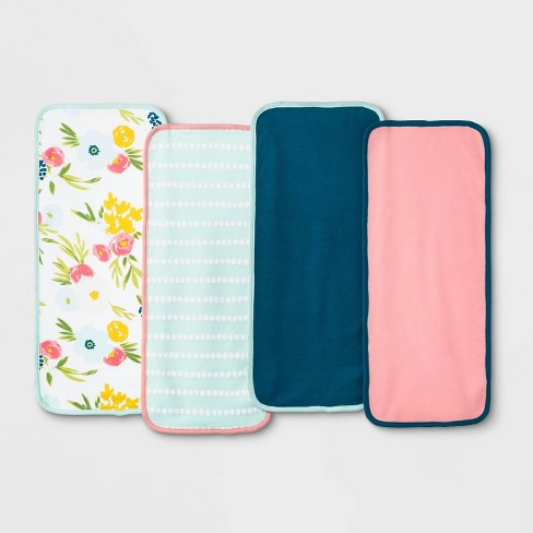 Baby Girls' 4pk Floral Fields Burp Cloth Set - Cloud Island™ White One Size - image 1 of 1