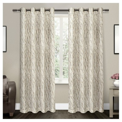Oakdale Textured Linen Motif Grommet Top Window Curtain Panel Pair Taupe (54 x84 )Exclusive Home