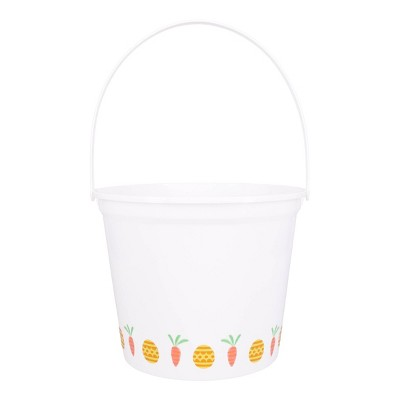 Jumbo Plastic Easter Bucket Printed Boarder with Stickers White - Spritz™