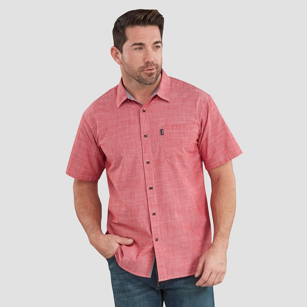 Dickies Men's Contemporary Fit Short Sleeve Button-Down Shirt - Red 2XL
