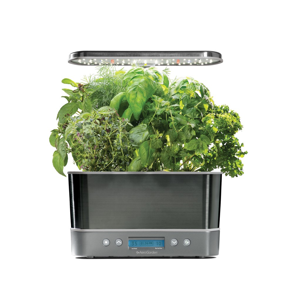 AeroGarden Harvest Elite with Gourmet Herbs 6-Pod Seed Kit - Platinum (White)