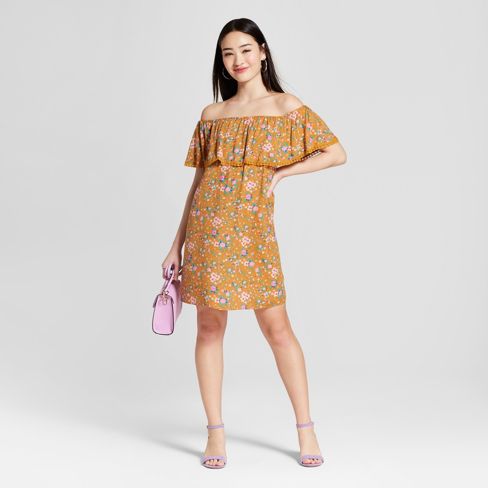 Women's Floral Print Off the Shoulder Dress - Everly Clothing (Juniors') Gold M, Size: Small, Orange was $37.99 now $11.39 (70.0% off)