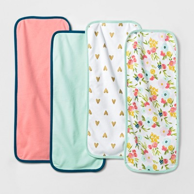 Baby Girls' 4pk Burp Cloth Cloud Island™ - Mint/Pink