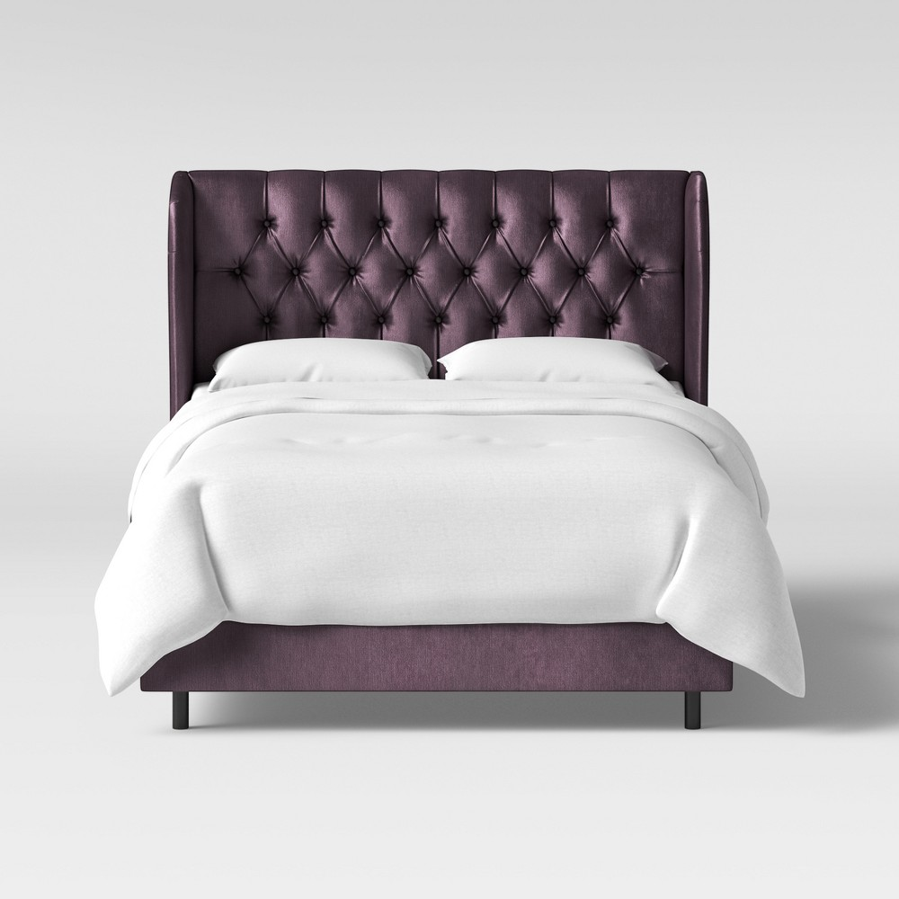 Queen Tufted Upholstered Wingback Bed Plum Velvet Threshold