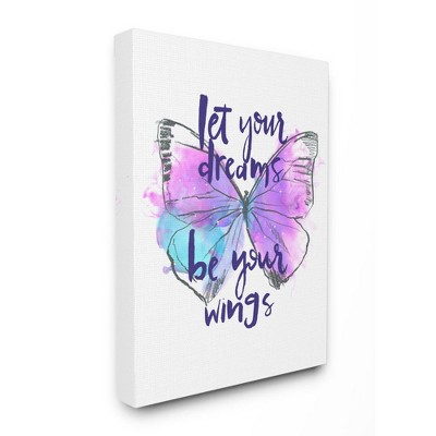 Stupell Industries Dreams Quote Purple Blue Butterfly Inspirational Sketch