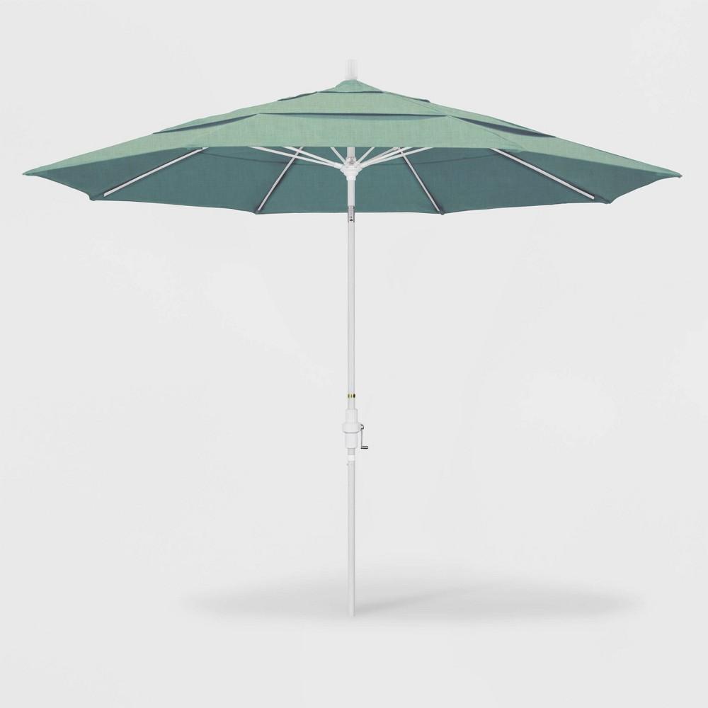 Image of 11' Sun Master Patio Umbrella Collar Tilt Crank Lift - Sunbrella Spa - California Umbrella